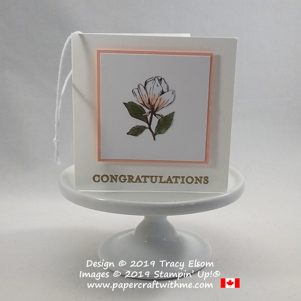 Folded congratulations gift tag with fussy cut mini magnolia bloom created using the Magnolia Blooms Stamp Set and Magnolia Lane patterned paper from Stampin' Up! #papercraftwithme