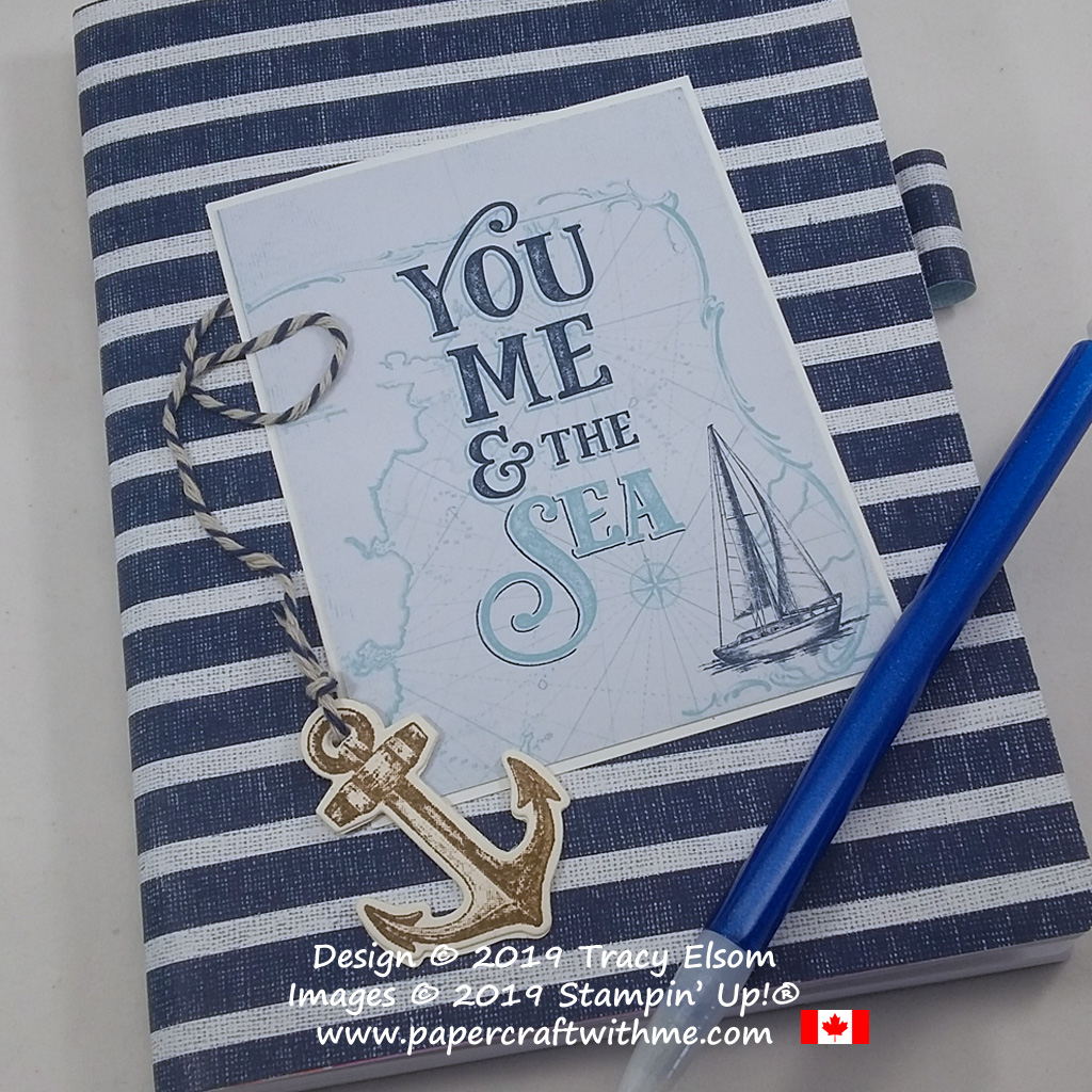 "Close up of 5"" x 7"" notebook with a ""You Me & the Sea"" sentiment and other products from the Come Sail Away Suite by Stampin' Up! #papercraftwithme"