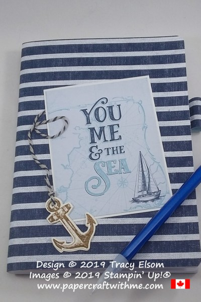 "5"" x 7"" notebook with a ""You Me & the Sea"" sentiment and other products from the Come Sail Away Suite by Stampin' Up! #papercraftwithme"