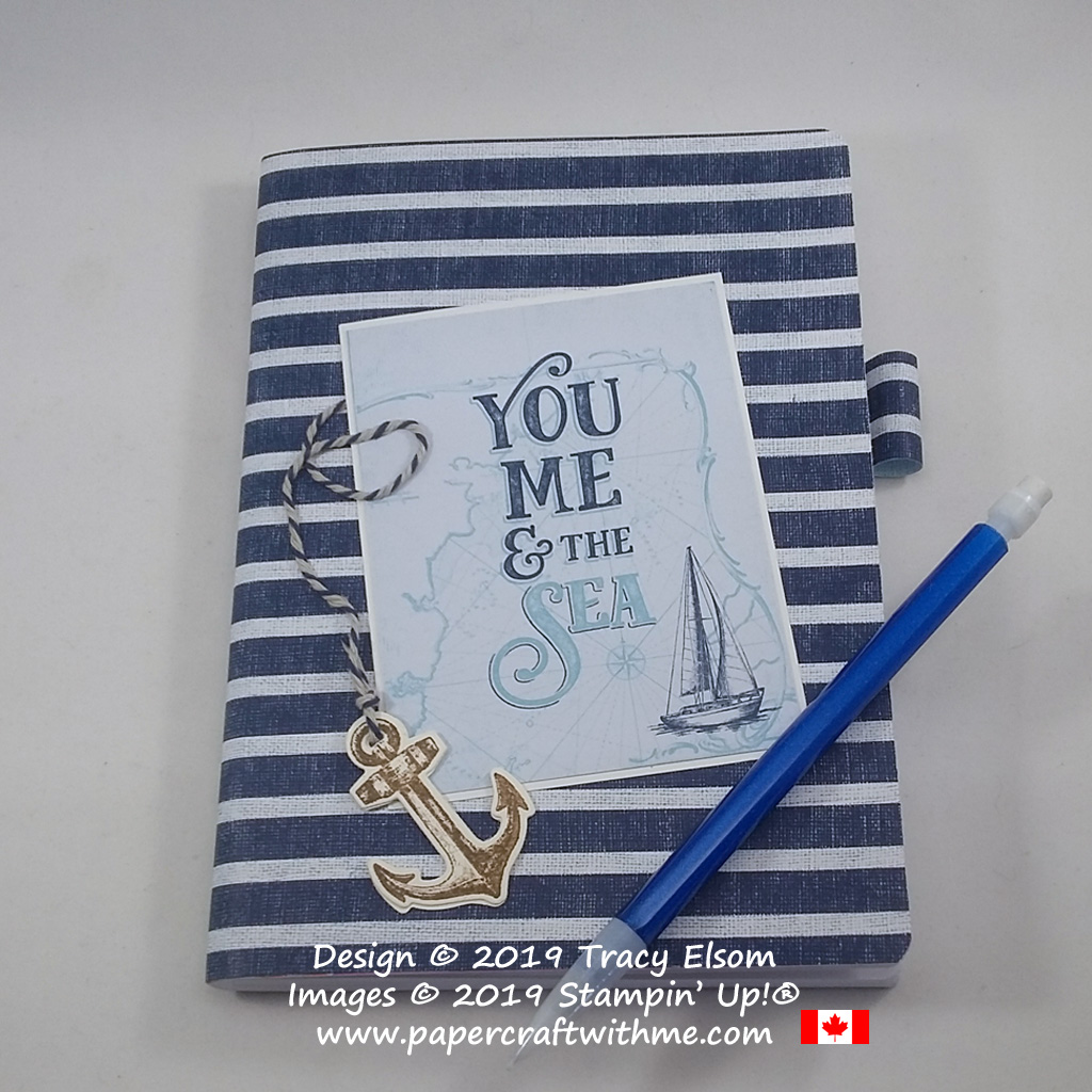 """5"""" x 7"""" notebook with a """"You Me & the Sea"""" sentiment and other products from the Come Sail Away Suite by Stampin' Up! #papercraftwithme"""