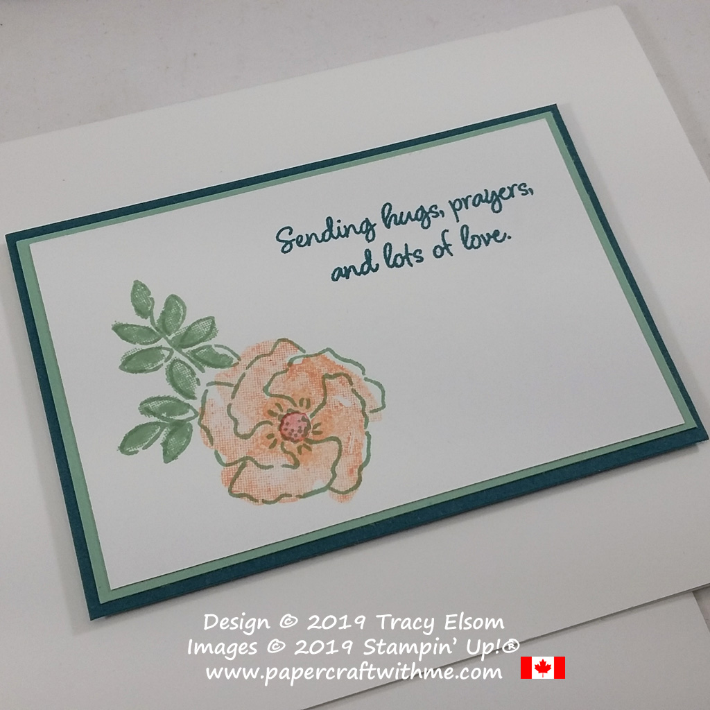 Close up of #simplestamping hugs, prayers and love card created using the Inspiring Iris Stamp Set and four ink colours from Stampin' Up!