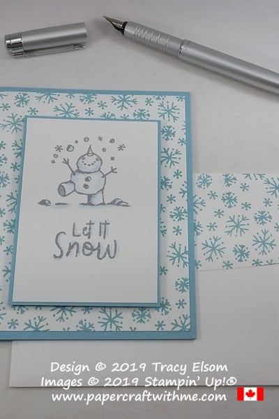 """Let it snow"" card created using the Snowman Season Stamp Set from Stampin' Up! #simplestamping #papercraftwithme"