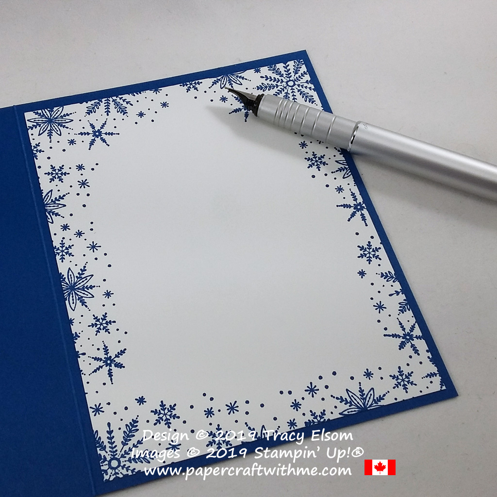 Inside of snowflake Christmas card created using the Frosted Foliage Stamp Set from Stampin' Up! #papercraftwithme