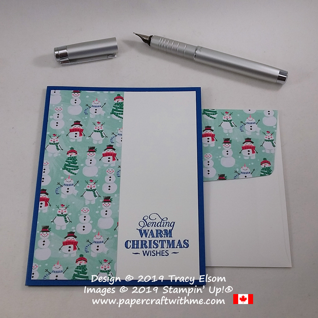 #simplestamping Christmas card with warm snowmen images created using the Rustic Retreat Stamp Set and Let It Snow Specialty DSP from Stampin' Up! #papercraftwithme