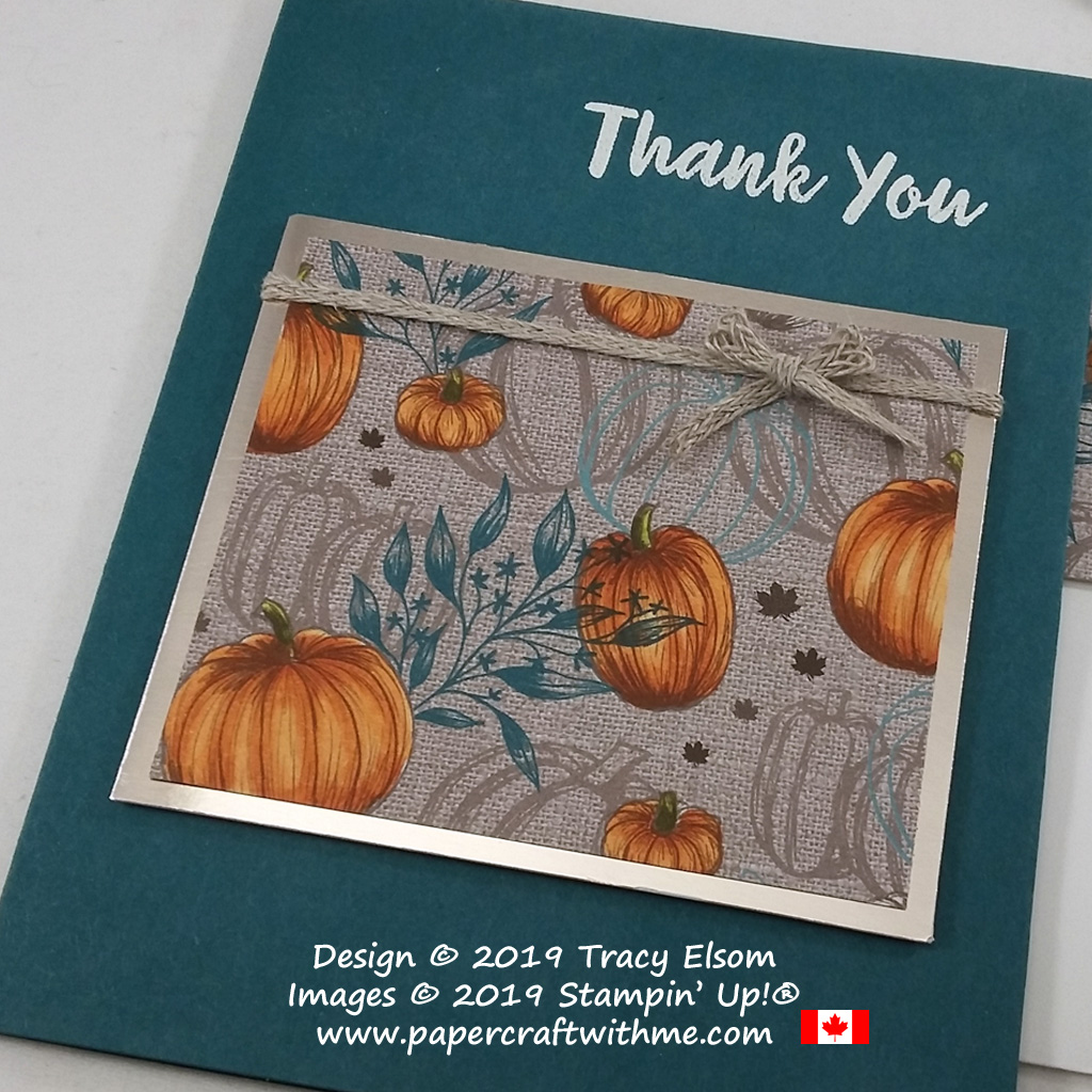 Close up of thank you card created using the Abstract Impressions Stamp Set and pumpkin patterned paper coloured using Stampin' Blends alcohol markers from Stampin' Up! #papercraftwithme.