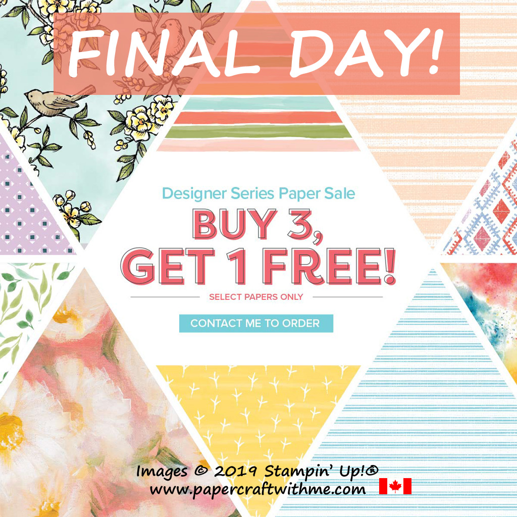 "September 30th is the final day for the Buy 3 Get 1 Free offer on selected 12"" x 12"" patterned paper from Stampin' Up! #papercraftwithme"