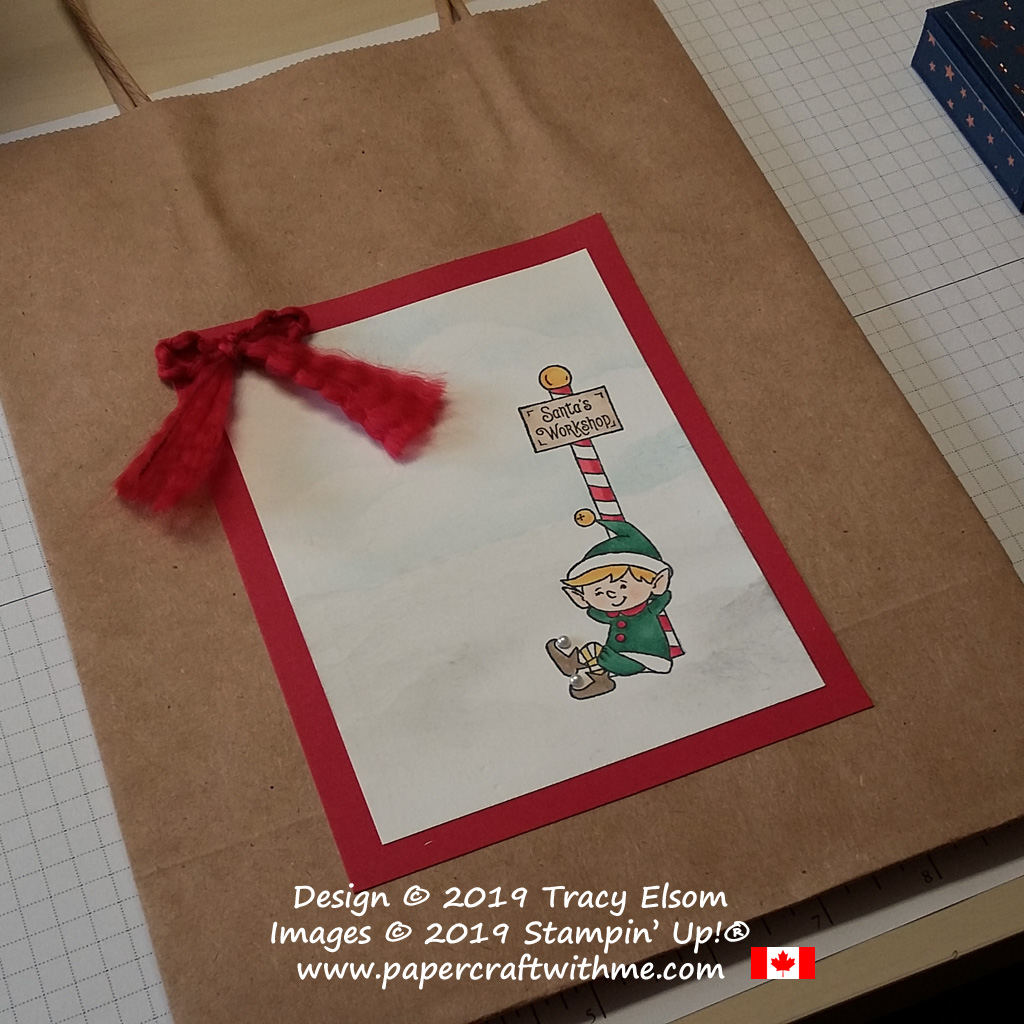 Close up of decorated Christmas bag with Santa's workshop image from the #Elfie Stamp Set from Stampin' Up! #papercraftwithme