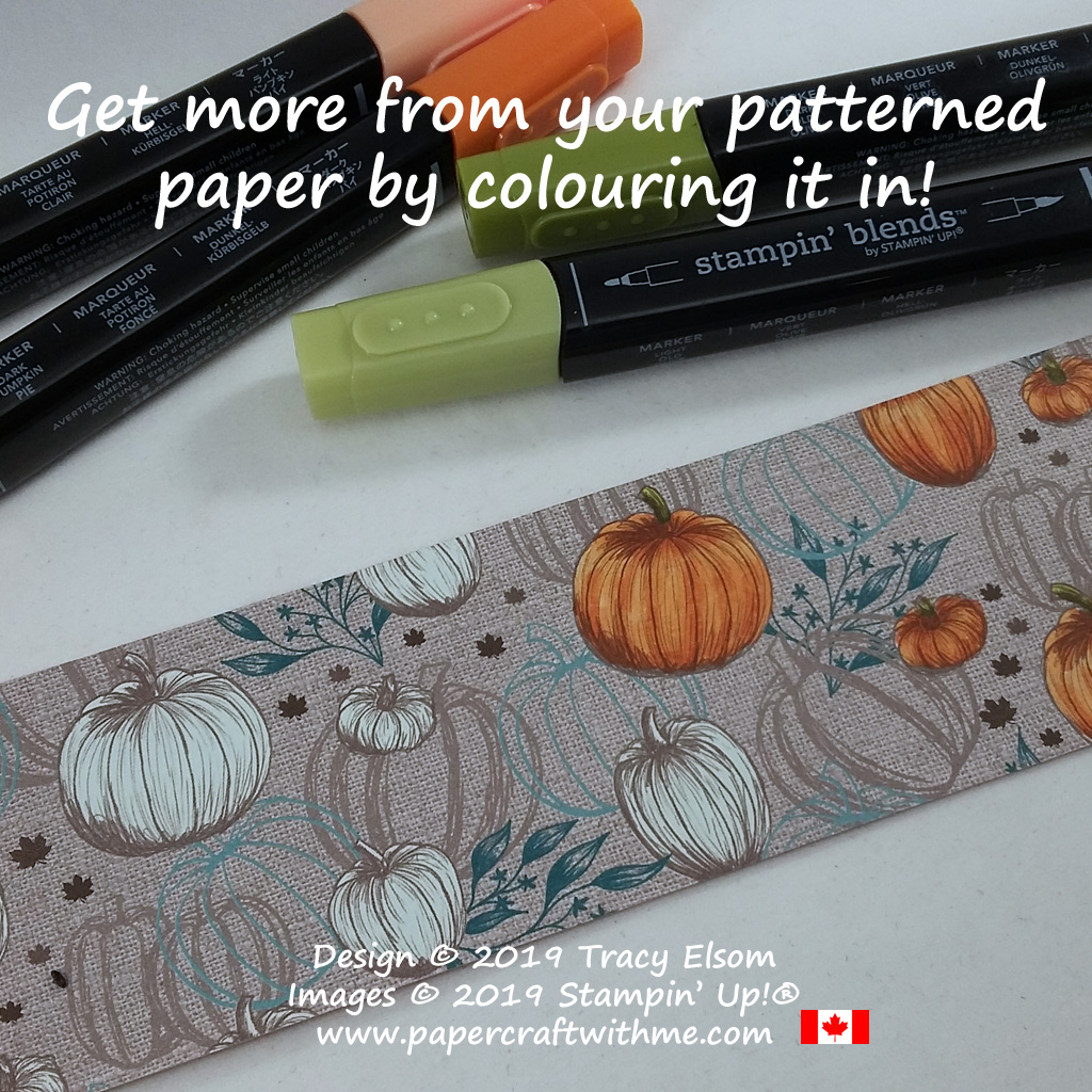 Pumpkin patterned paper from the Come To Gather DSP coloured using Stampin' Blends alcohol markers from Stampin' Up! #papercraftwithme.