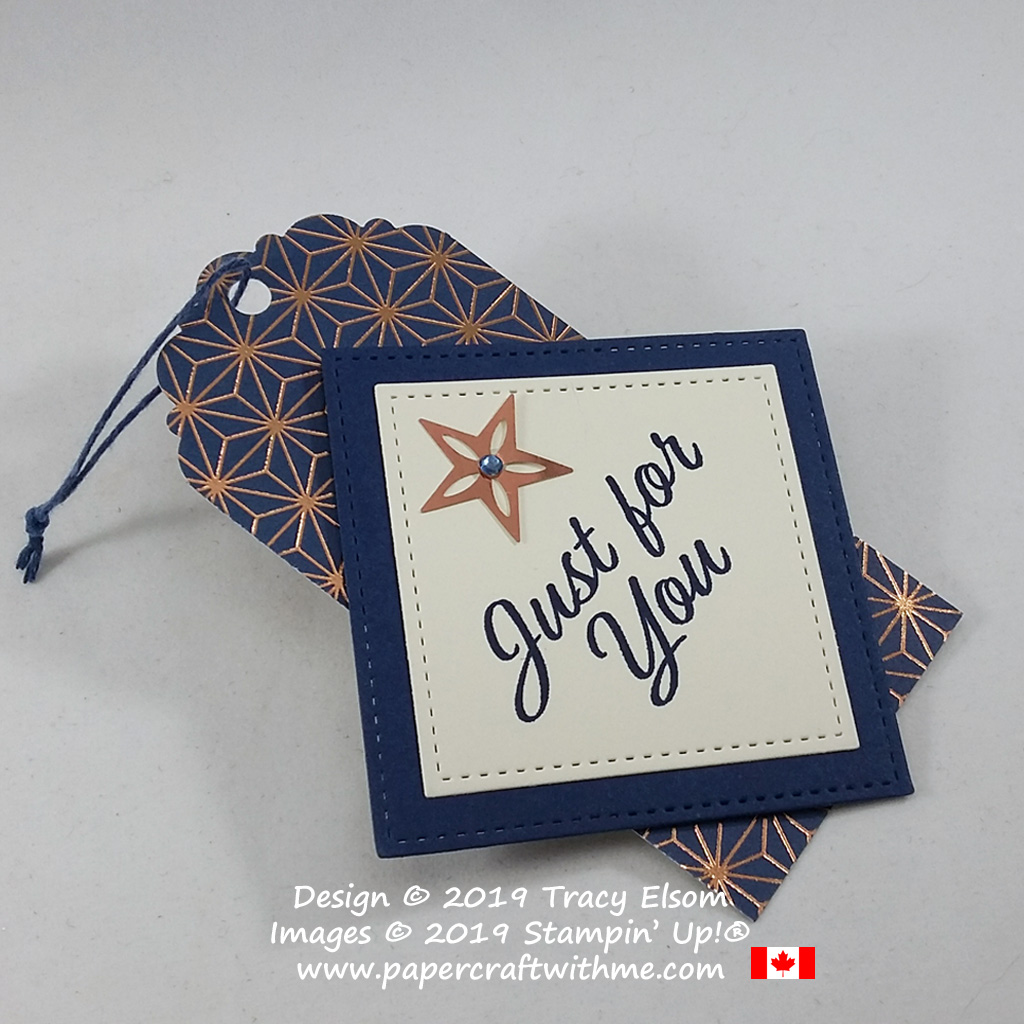"Large ""Just for you"" gift tag in copper and navy created using the Brightly Gleaming patterned paper and Meant To Be Stamp Set from Stampin' Up! #papercraftwithme"