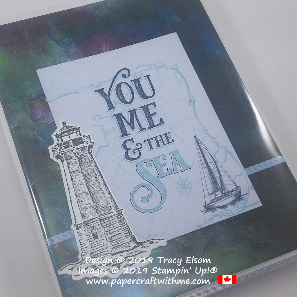 """Close up of 4"""" x 6"""" pocket photo album with """"You me and the sea"""" sentiment created using products from the Come Sail Away suite from Stampin' Up! #papercraftwithme"""