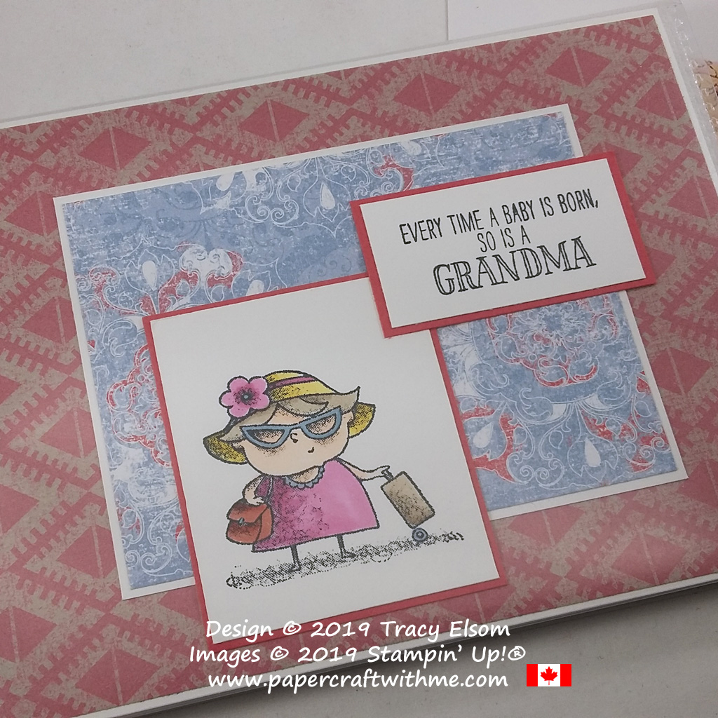 "A gift for a new Grandma - Close up of 4"" x 6"" pocket photo album decorated using the Grandma's House and on to Adventure Stamp Sets from Stampin' Up! #papercraftwithme"