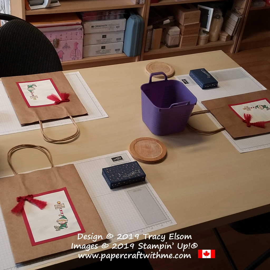 All set up and ready for one of my Christmas papercraft classes. #papercraftwithme
