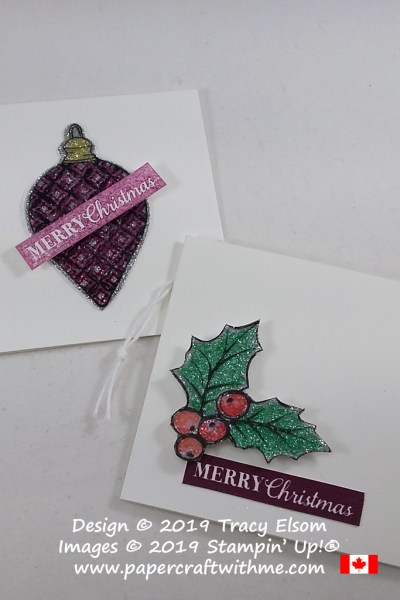 "Folded 3"" x 3"" gift tags created using the Christmas Gleaming Stamp Set from Stampin' Up! #papercraftwithme"
