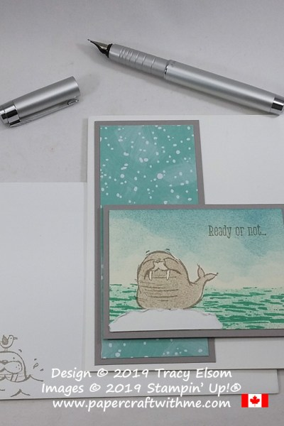 "Birthday card with ""Ready or not... it's your birthday"" sentiments from the We'll Walrus be Friends Stamp Set from Stampin' Up! #papercraftwithme"