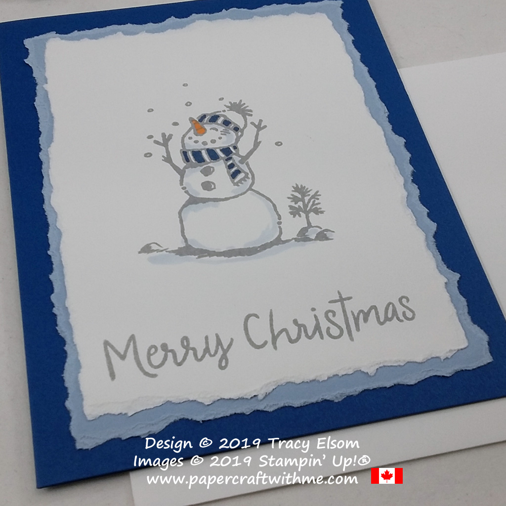 Close up of Christmas card featuring a happy snowman with torn layers, created using the Snowman Season Stamp Set from Stampin' Up! #papercraftwithme