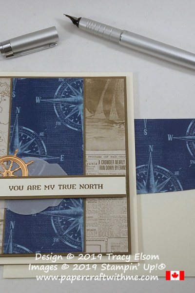 "Nautical themed Valentines card in blue and brown colour scheme with ""you are my true north"" sentiment from the Sailing Home Stamp Set from Stampin' Up! #papercraftwithme"
