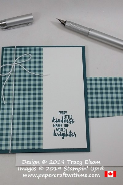 "Simple card with gingham paper and ""Every little kindness makes the world brighter"" sentiment from the Waterfront Stamp Set from Stampin' Up! #simplestamping #papercraftwithme"