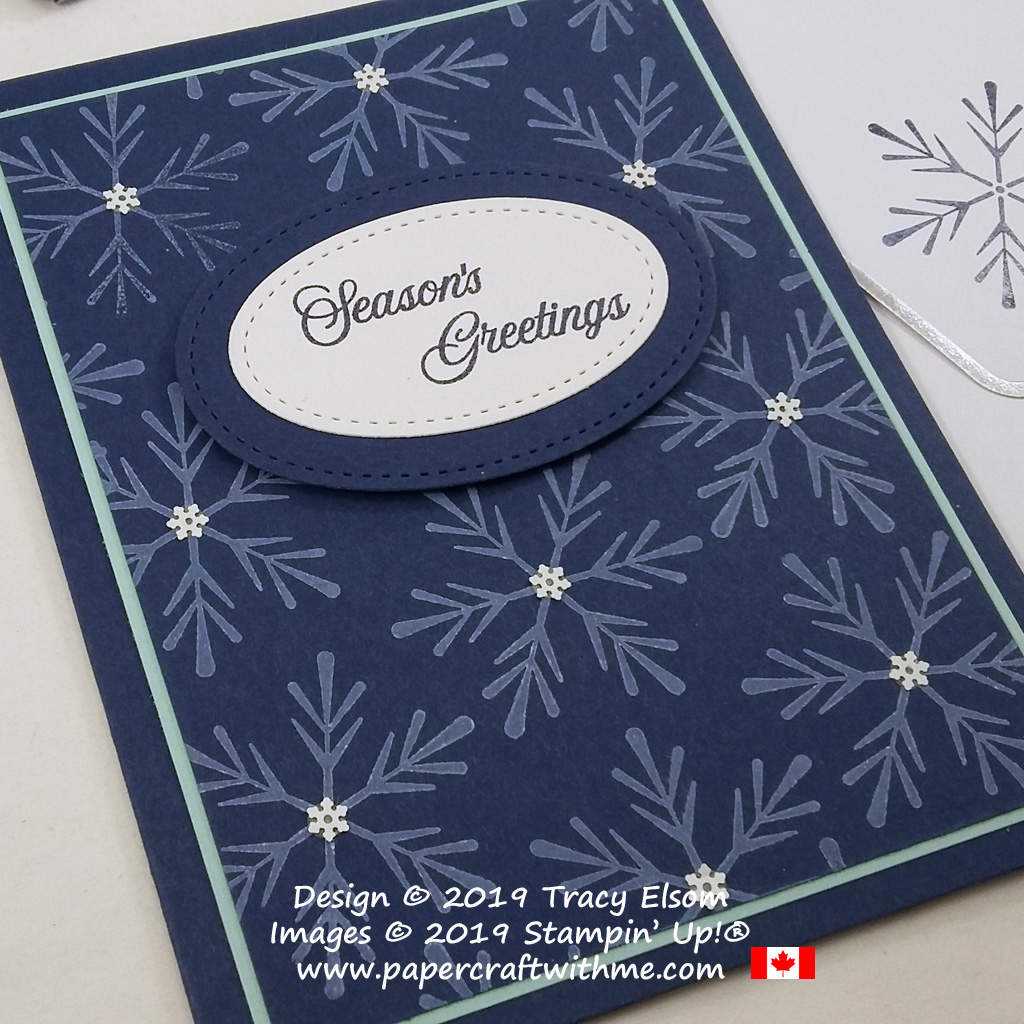 "Pretty card with snowflakes and ""Seasons Greetings"" sentiment - alternate project created for the October 2019 Paper Pumpkin kit ""Winter Woods"". #papercraftwithme"