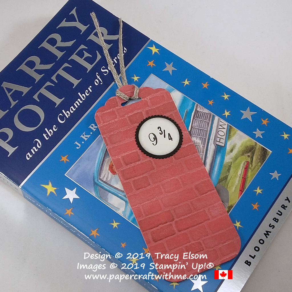 Harry Potter themed bookmark with embossed brick wall and 9-3/4 image, created using the Brick & Mortar 3D Embossing Folder and Make A Difference Stamp Set from Stampin' Up! #papercraftwithme
