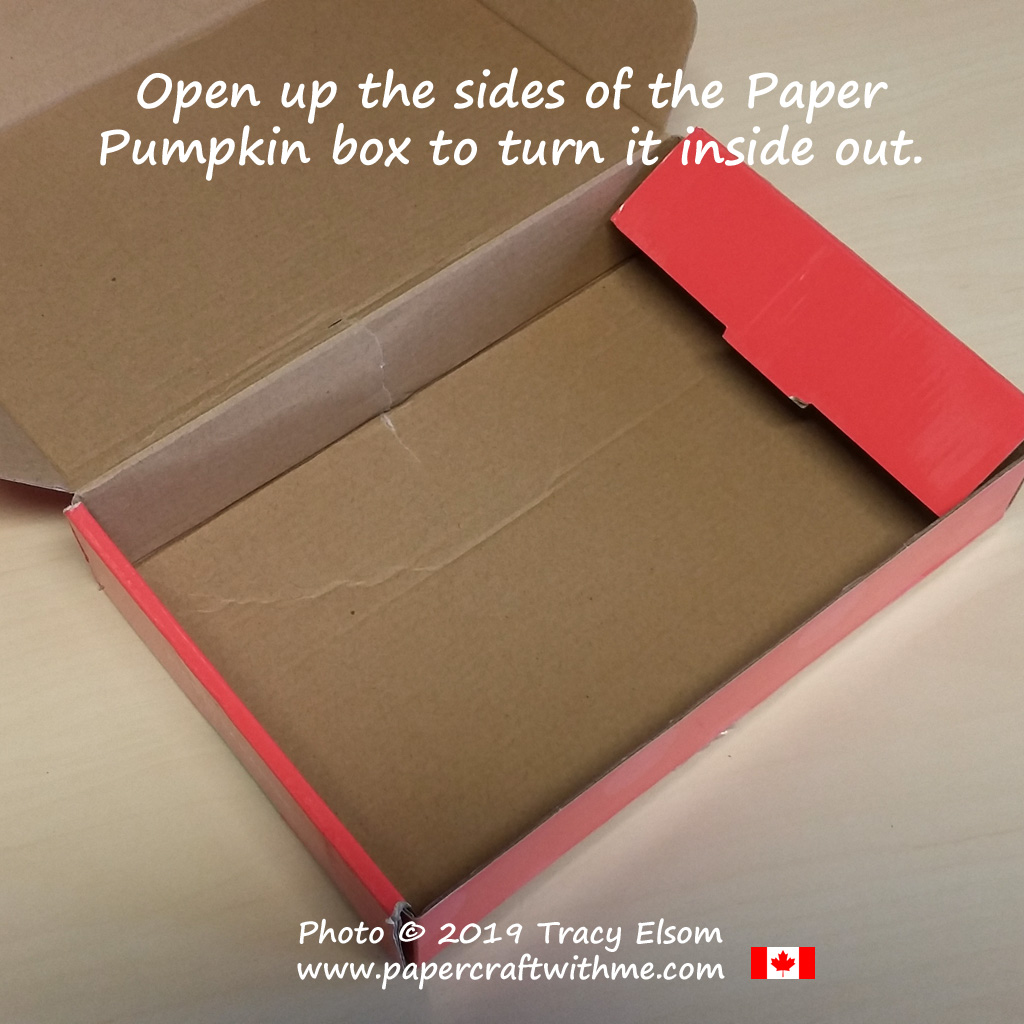 Easily turn empty Paper Pumpkin Boxes inside out for neat storage of leftover kit pieces. #papercraftwithme