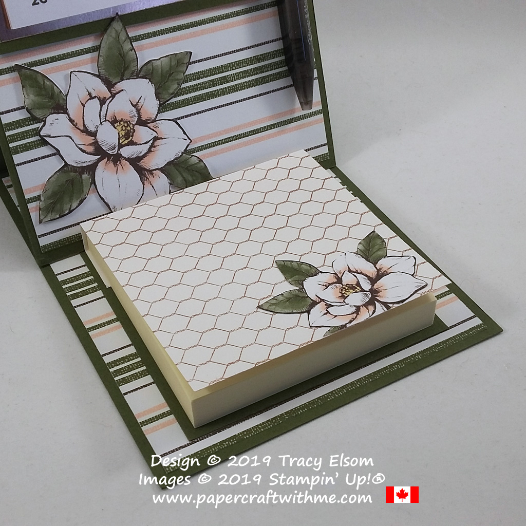 Close up of note pad cover on easel calendar and sticky note holder updated for 2020 using products from the Magnolia Lane suite from Stampin' Up! #papercraftwithme