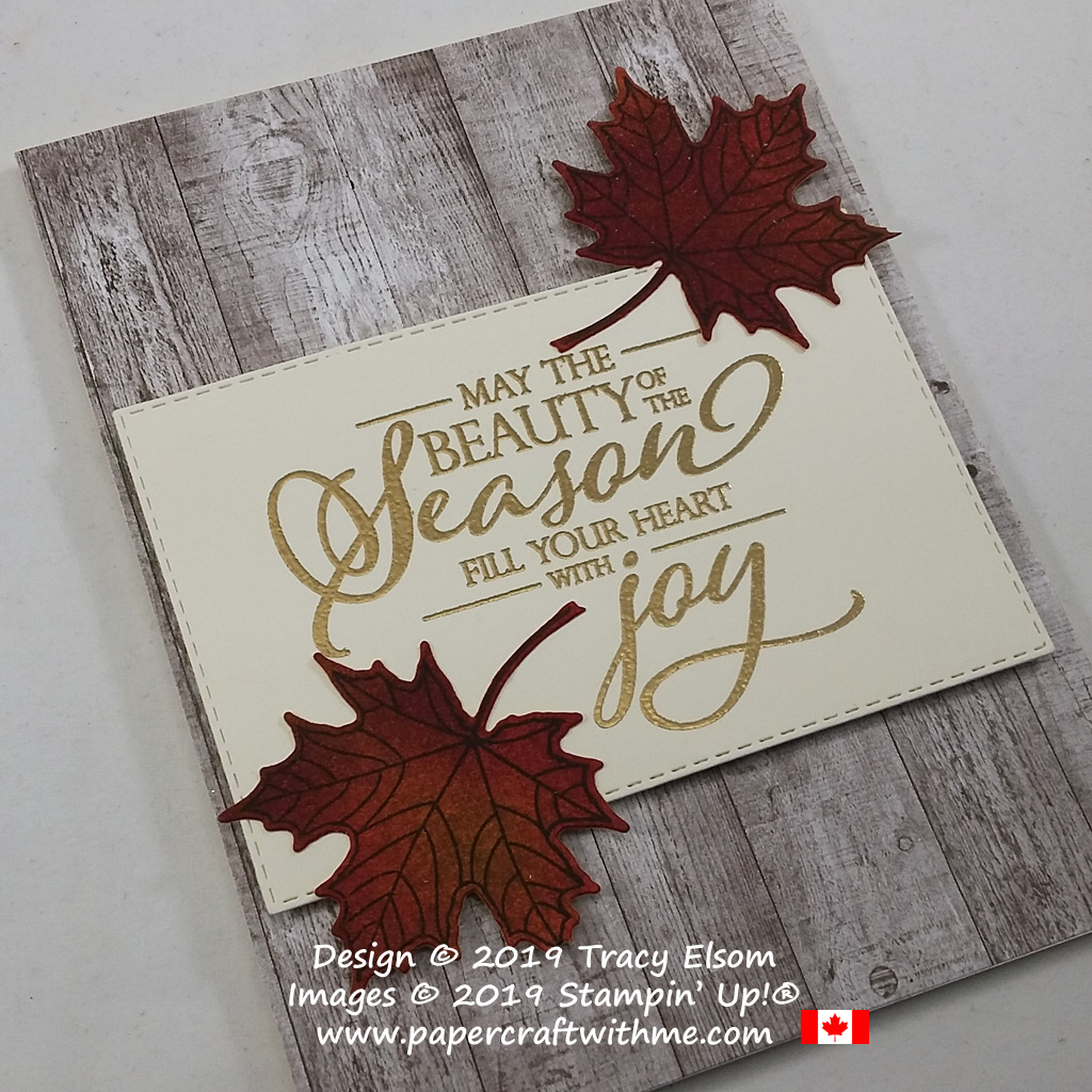 "Autumn leaves with a wood effect background this ""Beauty of the season"" card created using the Merry Christmas To All Stamp Set from Stampin' Up! #papercraftwithme"