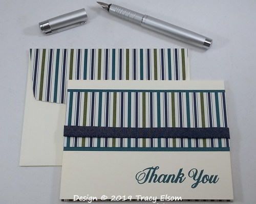 1856 Striped Thank You Card