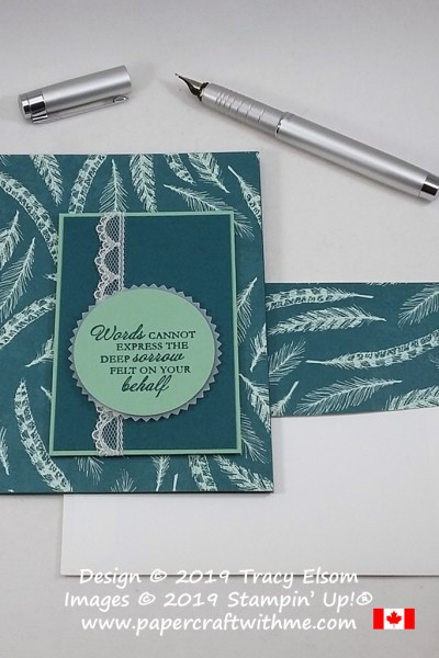 "Sympathy card with ""Words cannot express the deep sorrow felt on your behalf"" sentiment created using the Come To Gather paper and Here's A Card Stamp Set from Stampin' Up! #papercraftwithme"