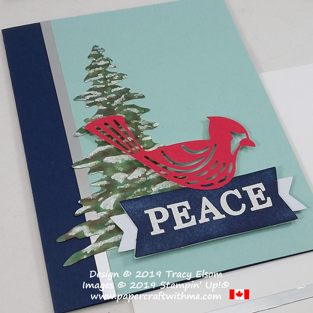 Cardinal peace card created using pieces from the November 2019 Paper Pumpkin kit Winter Gifts. #papercraftwithme