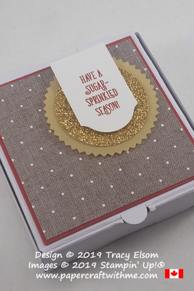 "For a homemade cookie this mini pizza box with ""sugar-sprinkled"" sentiment is perfect. Created using the Come To Gather patterned paper and Itty Bitty Christmas Stamp Set from Stampin' Up! #papercraftwithme"