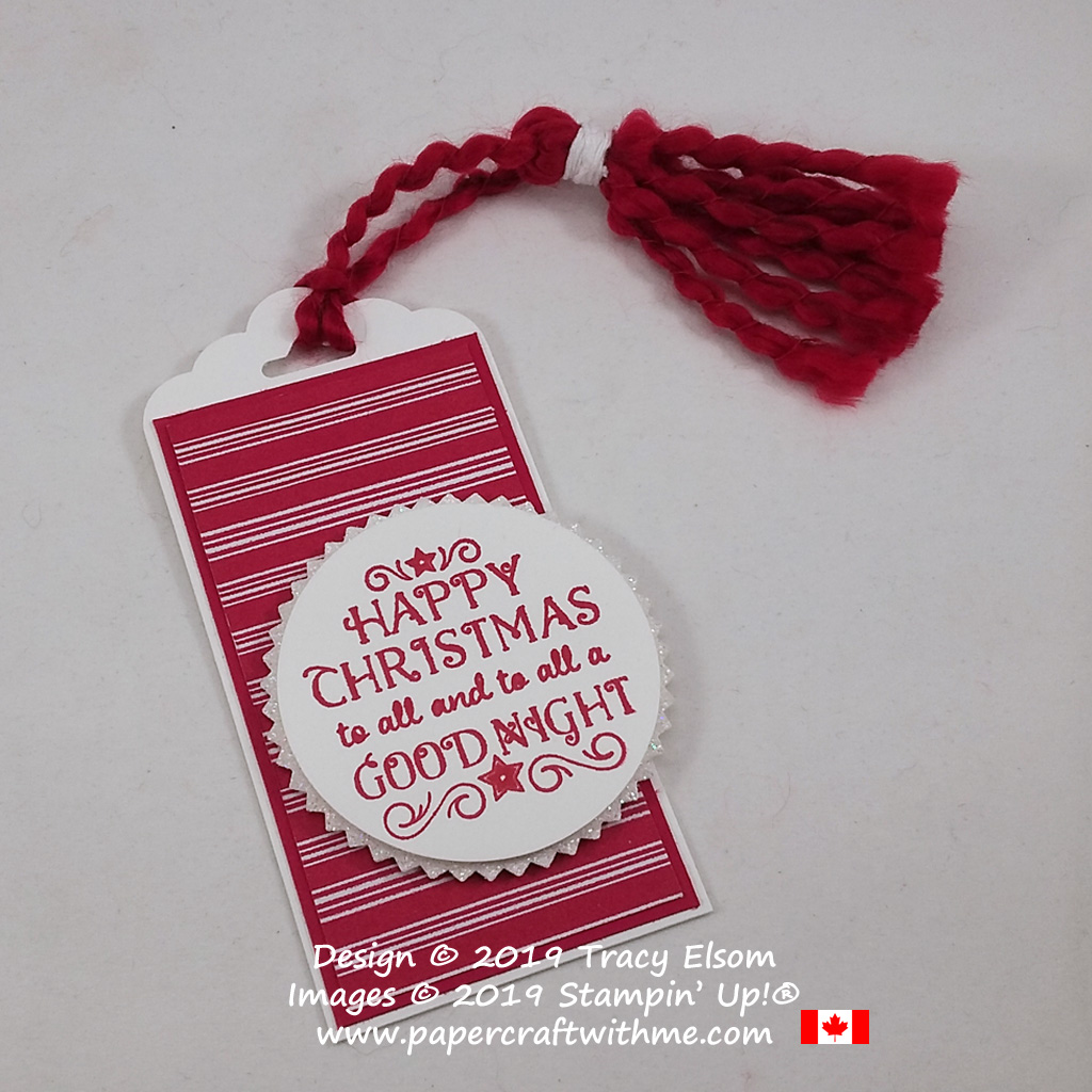 A fun Christmas gift tag with hand-tied tassel and a sentiment from the Greatest Part Of Christmas Stamp Set from Stampin' Up!