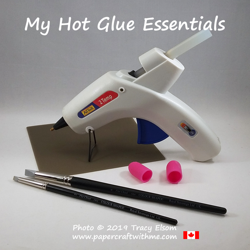 My hot glue essentials include a dual temperature hot glue gun, silicone craft sheet, silicone finger protector and artists colour shaper tools. #papercraftwithme