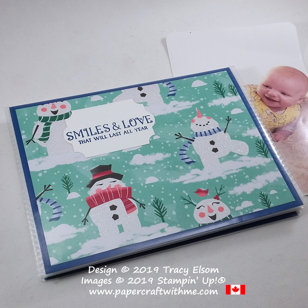 """Smiles & love that will last all year. This altered sentiment from the Greatest Part Of Christmas (Host) Stamp Set from Stampin' Up! was perfect for my 4"""" x 6"""" pocket photo album project. #papercraftwithme"""