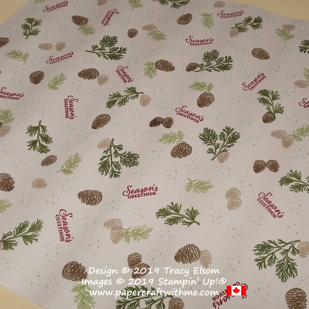 """24"""" x 30"""" gift wrap created using the Peaceful Boughs Stamp Set from Stampin' Up! #papercraftwithme"""