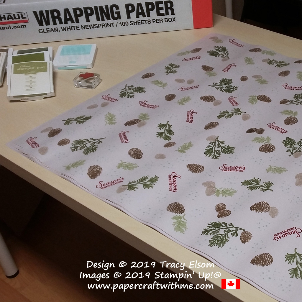 "24"" x 30"" wrapping paper created using the Peaceful Boughs Stamp Set from Stampin' Up! #papercraftwithme"