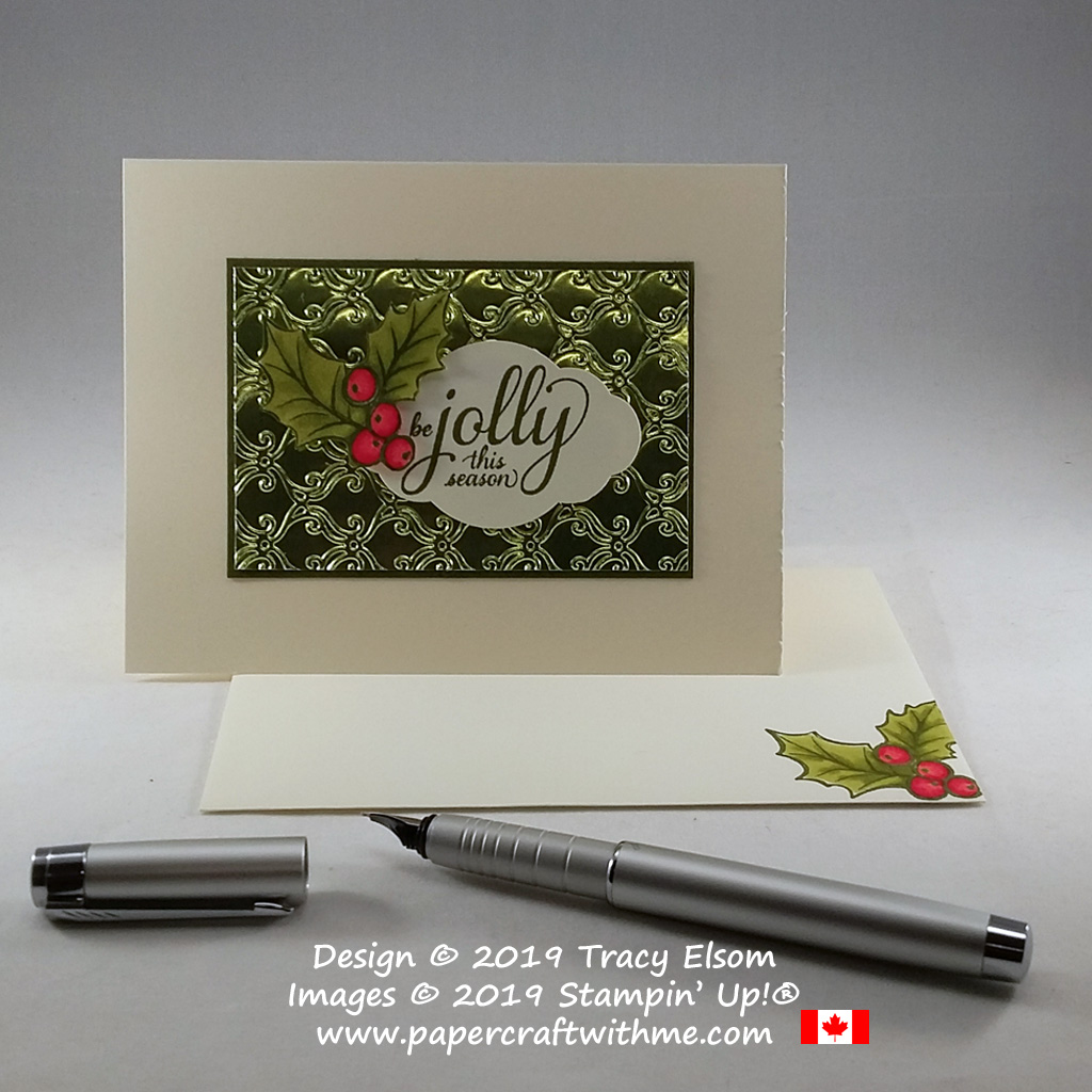 """""""Be jolly this season"""" card with holly image created using the Brightly Gleaming Stamp Set and Stylish Scroll Embossing Folder from Stampin' Up! #papercraftwithme"""
