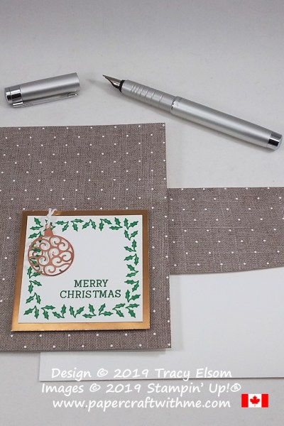 Simple Christmas card with holly border image from the Cup of Christmas Stamp Set and copper ornament from the Brightly Gleaming Foil Elements. All products from Stampin' Up! #papercraftwithme