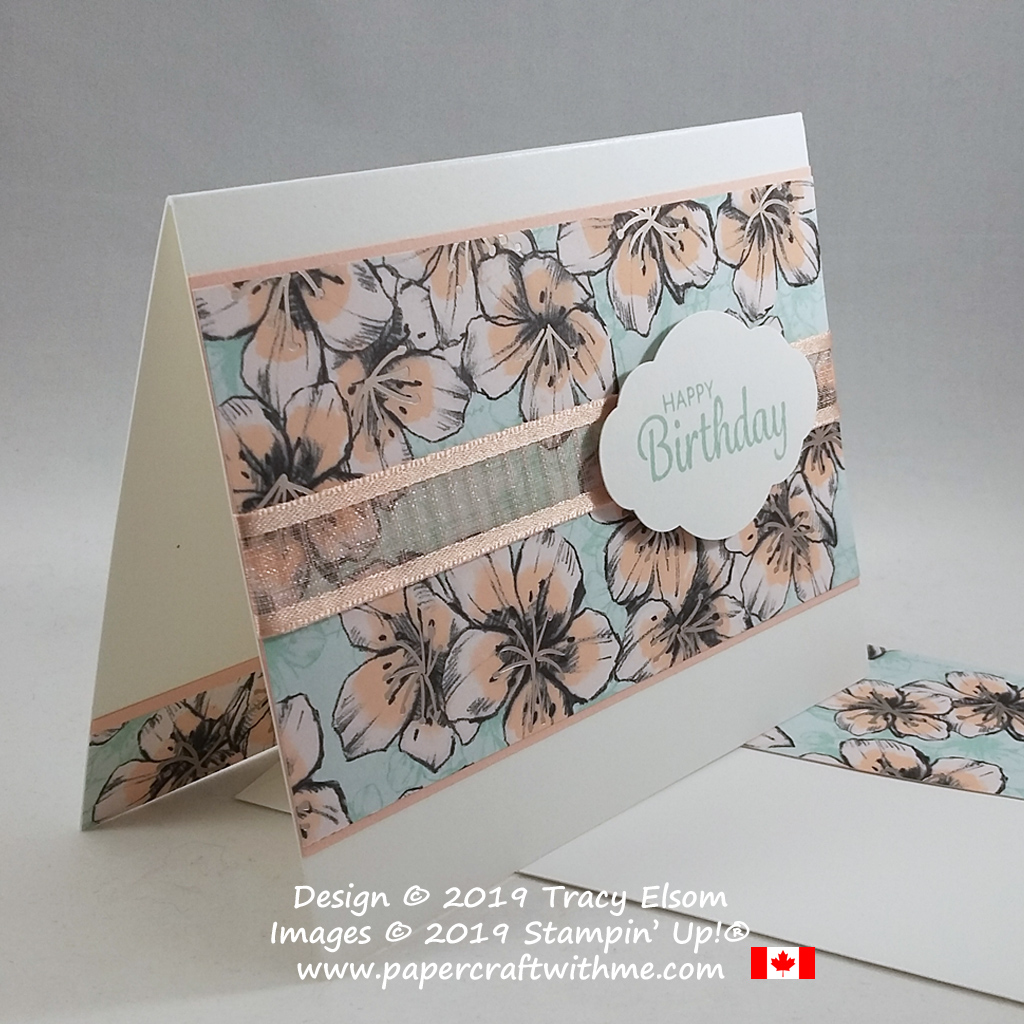 Simple birthday card created using the Parisian Blossoms Specialty Paper from Stampin' Up! #simplestamping #papercraftwithme