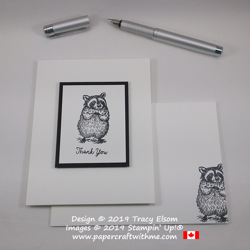 Black and white thank you card with sentiment and raccoon image from the Special Someone Stamp Set from Stampin' Up! #papercraftwithme