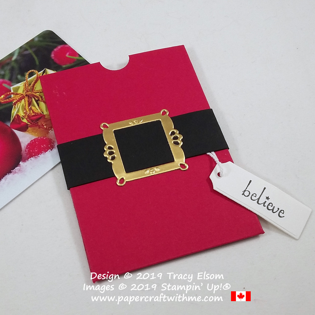 """Gift card holder with Santa's belt buckle created using the Ornate Frames Dies & """"believe"""" sentiment from the Itty Bitty Christmas Stamp Set, all from Stampin' Up! #papercraftwithme"""