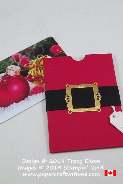 "Gift card holder with Santa's belt buckle created using the Ornate Frames Dies & ""believe"" sentiment from the Itty Bitty Christmas Stamp Set, all from Stampin' Up! #papercraftwithme"