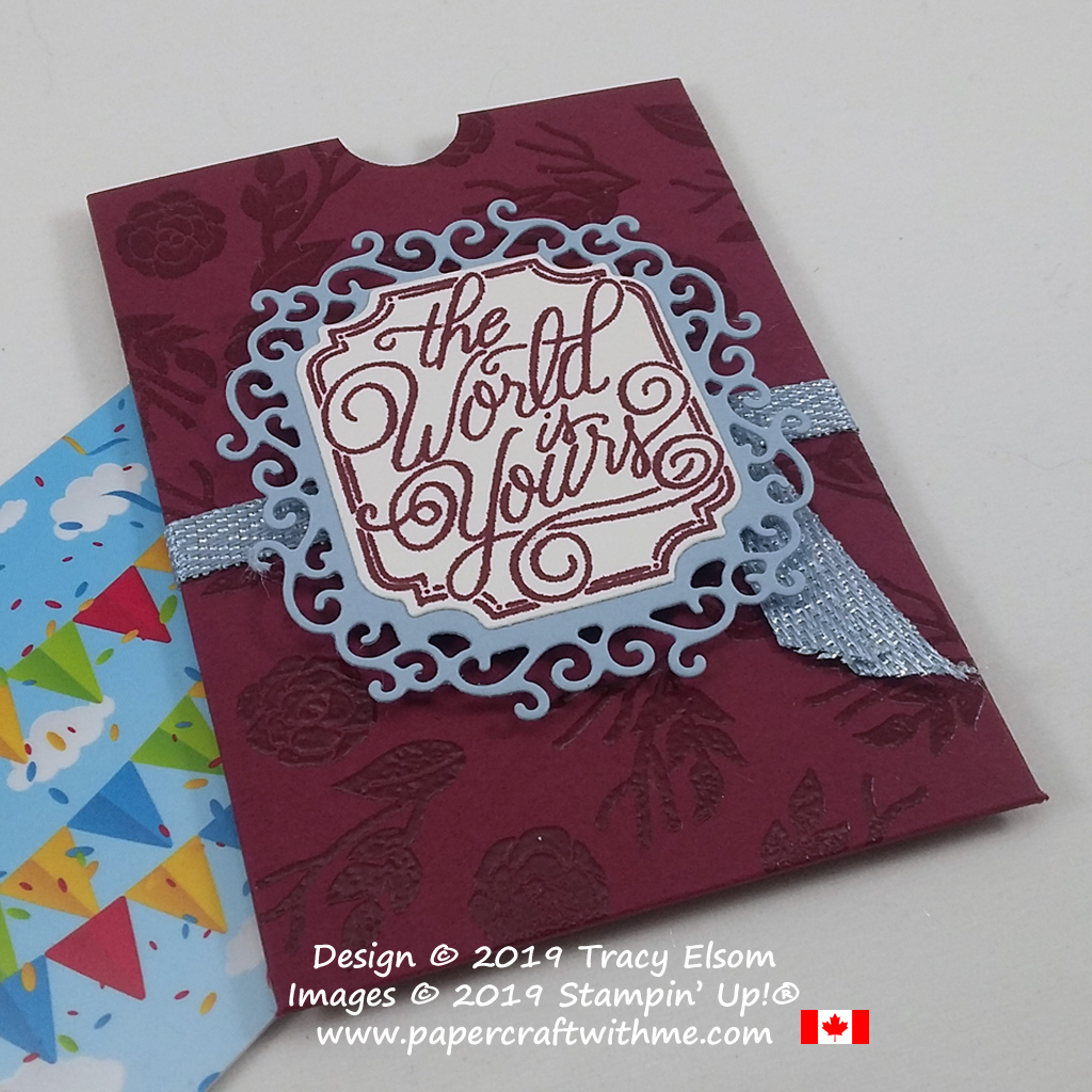 Gift card holder created using the Perfectly Framed Stamp Set and coordinating Ornate Frames Dies from Stampin' Up! #papercraftwithme