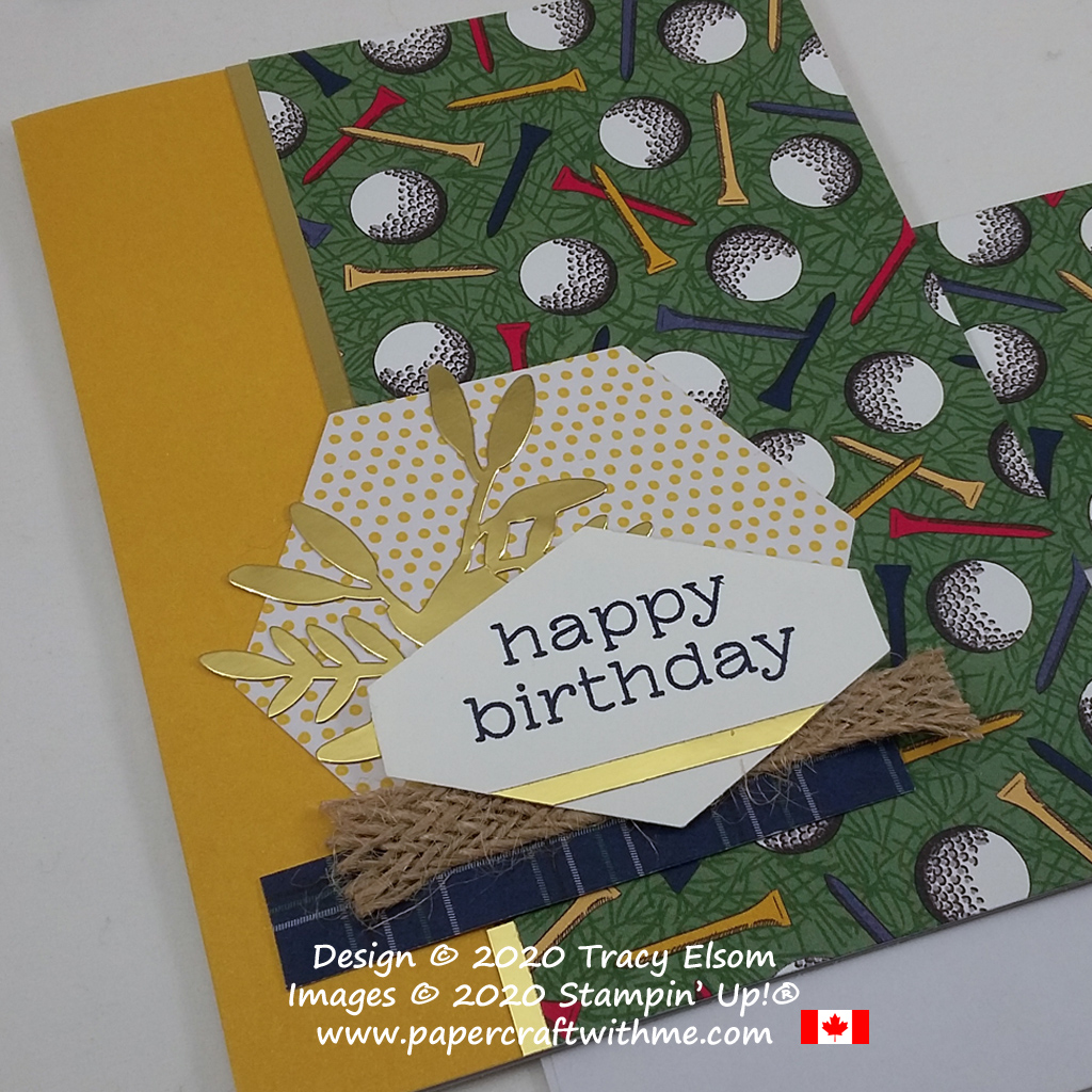 "Golf birthday card created using Country Club patterned paper and pieces from the December 2019 Paper Pumpkin kit ""Something for Everything"". #papercraftwithme"