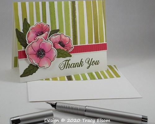 1909 Poppy Trio Thank You Card
