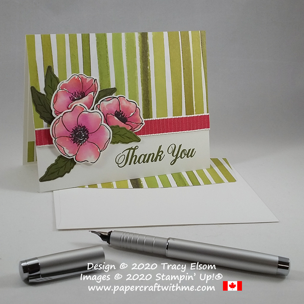 Thank you card with watercoloured poppy images created using the Painted Poppies and Daisy Delight Stamp Sets from Stampin' Up! #papercraftwithme