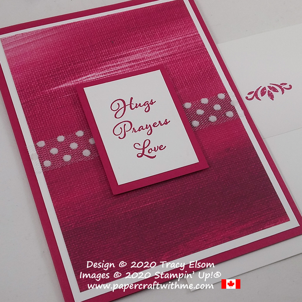 """Simple card in 'Lovely Lipstick' colour with """"Hugs Prayers Love"""" sentiment from the Positive Thoughts Stamp Set from Stampin' Up! #papercraftwithme #simplestamping"""