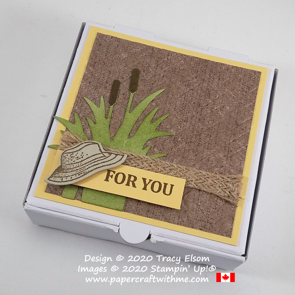 Give the fisherman in your life a gift in this mini pizza box decorated using the Best Catch Stamp Set, Catch of the Day Dies and Coastal Weave 3D Embossing Folder from Stampin' Up! #papercraftwithme