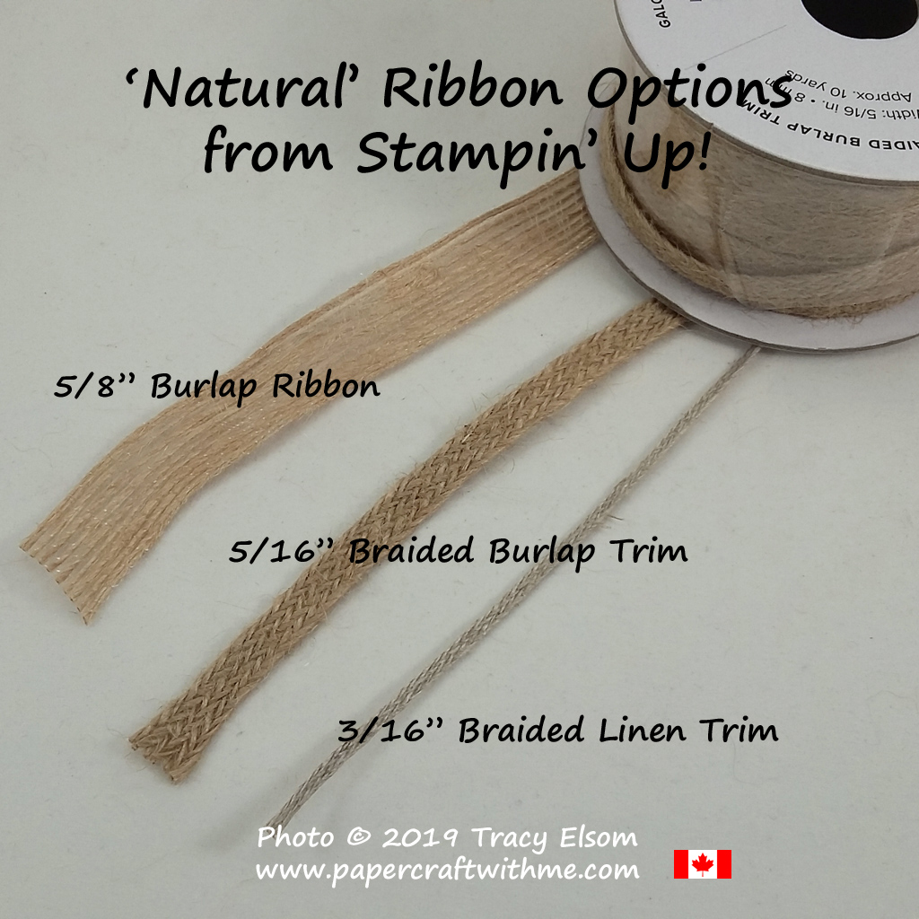 Different types of 'natural' ribbon and trim from Stampin' Up! #papercraftwithme