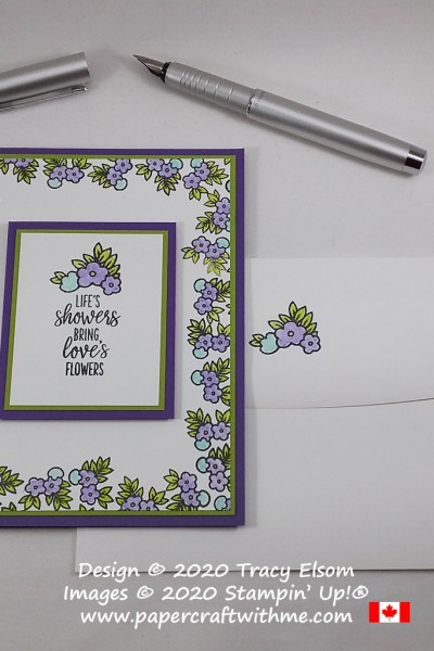 "#simplestamping card with ""Life's showers bring love's flowers"" sentiment using the Under My Umbrella Stamp Set from Stampin' Up!, with a Gorgeous Grape, Granny Apple Green and Coastal Cabana colour scheme. #papercraftwithme"