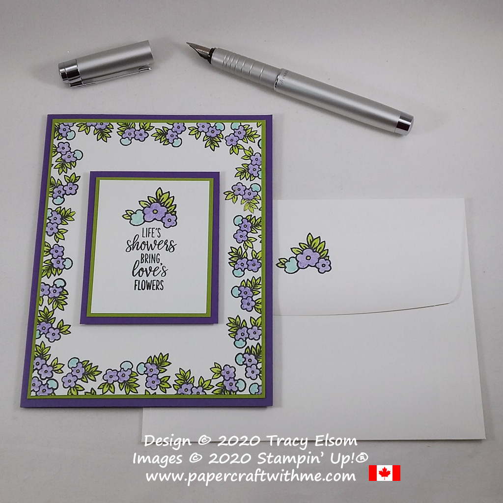 """#simplestamping card with """"Life's showers bring love's flowers"""" sentiment using the Under My Umbrella Stamp Set from Stampin' Up!, with a Gorgeous Grape, Granny Apple Green and Coastal Cabana colour scheme. #papercraftwithme"""